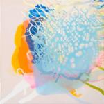 Wellenbrecher 1,  Lack und Tusche auf Leinwand, 70 x 70 cm, 2020