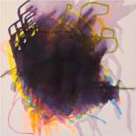 Wellenbrecher 2,  Lack und Tusche auf Leinwand, 70 x 70 cm, 2020