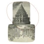 Die zwei Türme,  30 x 30 cm, Naht und Papier auf Papier